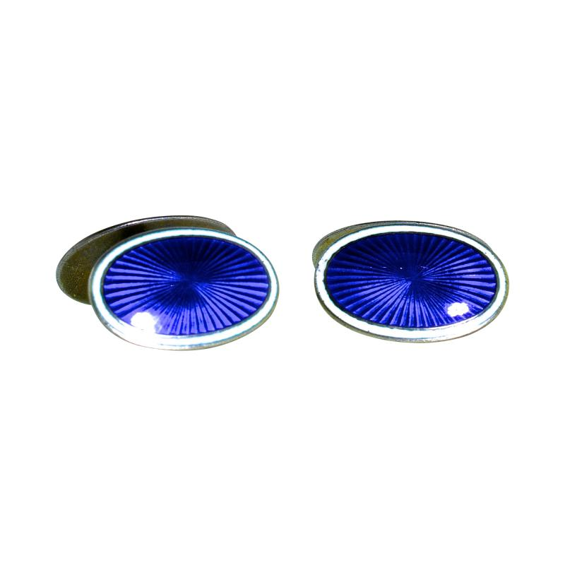 Enamel and Silver Back to Back Cufflinks