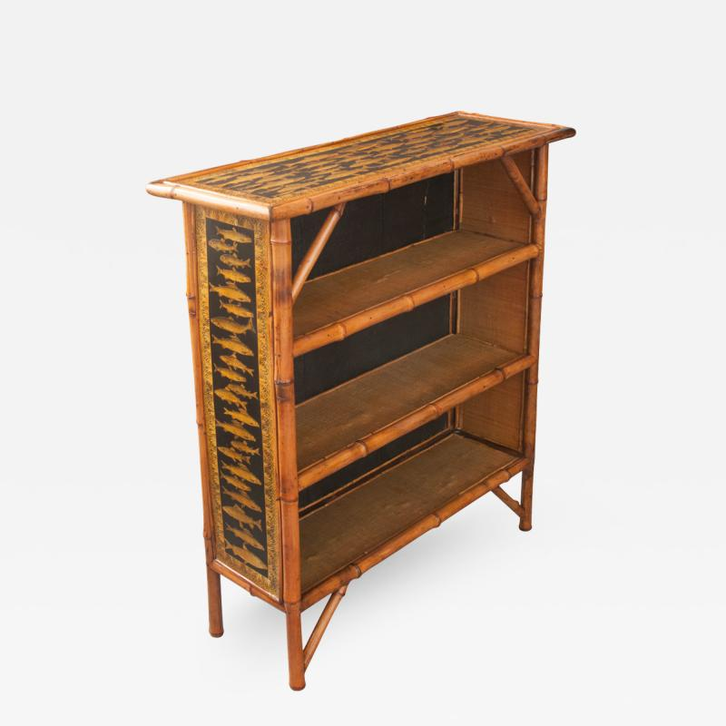 English 19th Century Bamboo and D coupage Fish Bookcase