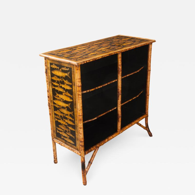 English 19th Century D coupaged Bamboo Bookcase