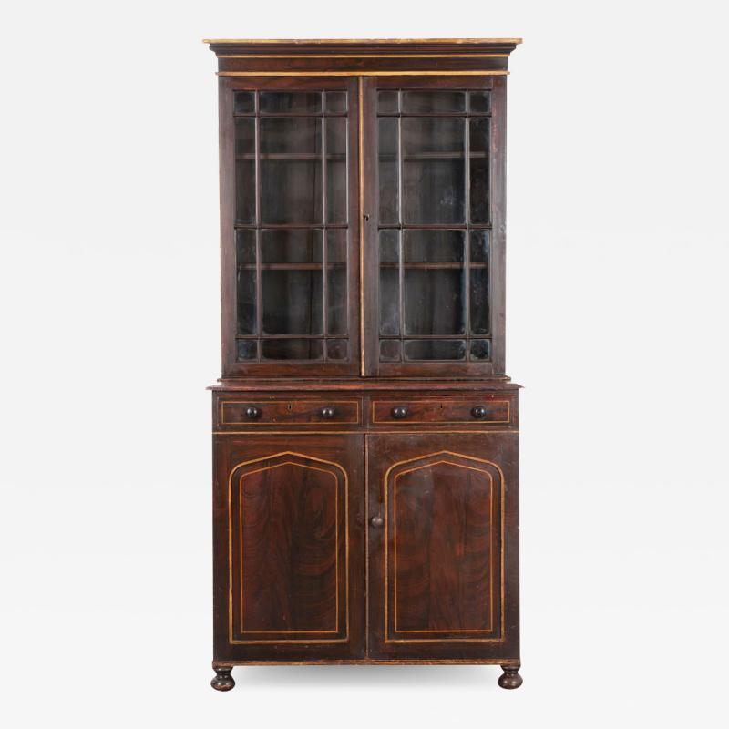 English 19th Century Regency Faux Bois Bookcase