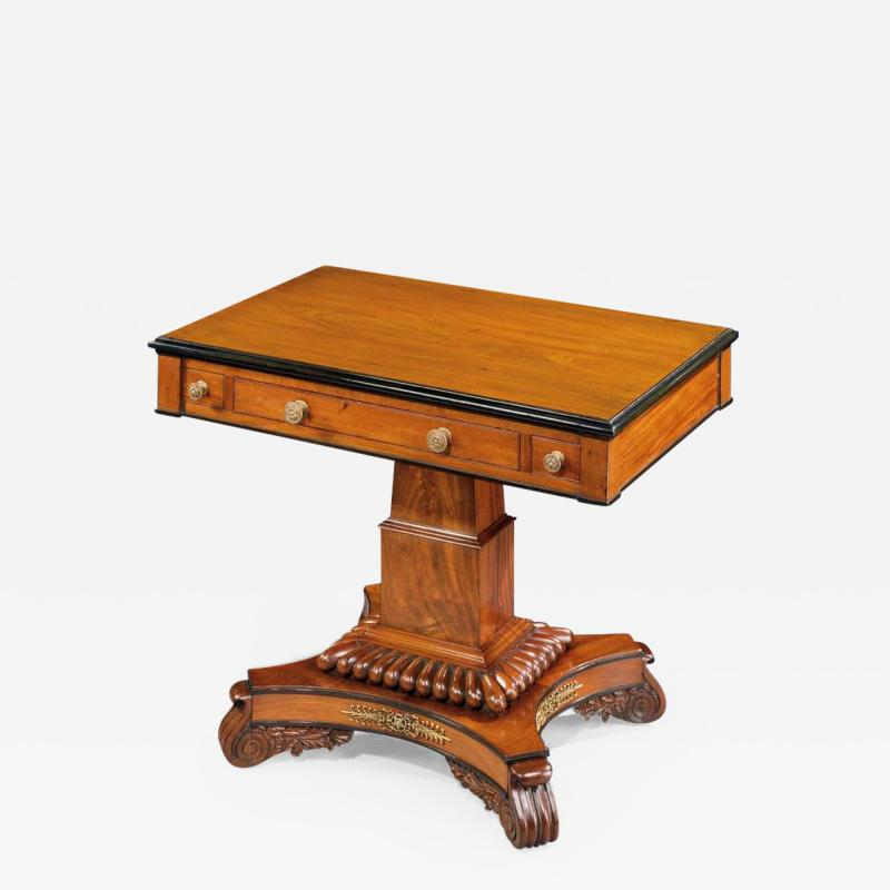 English 19th Century William IV Period Carved Mahogany Games Table