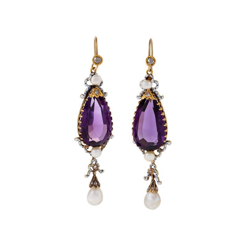 English Antique Amethyst Pearl Diamond Enamel and Gold Earrings