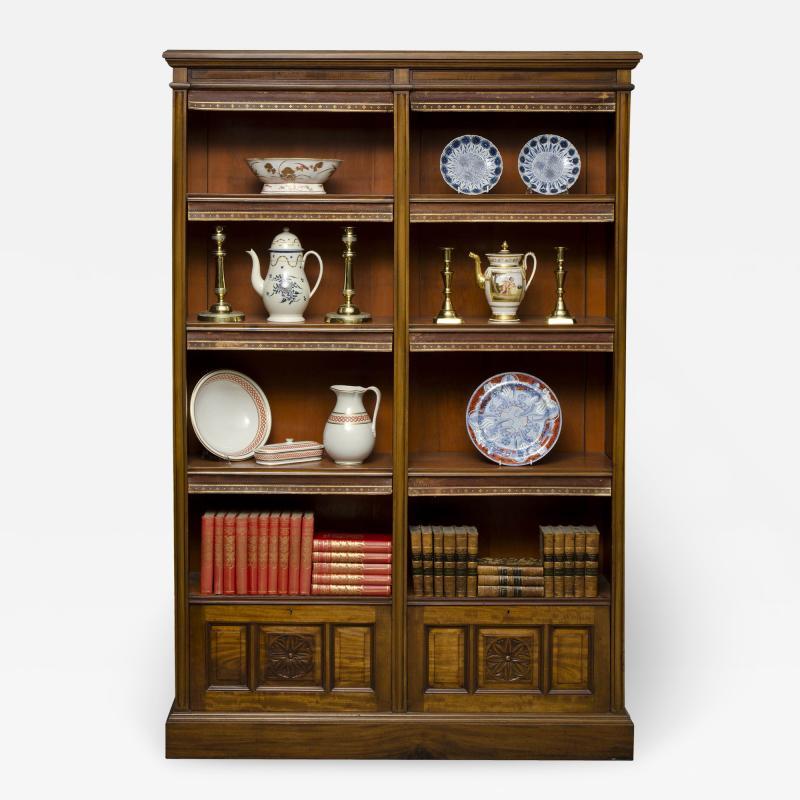 English Antique Victorian Walnut Open Bookcase Circa 1870
