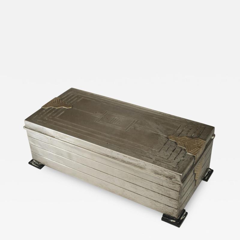 English Art Deco Sterling Silver Rectangular Box