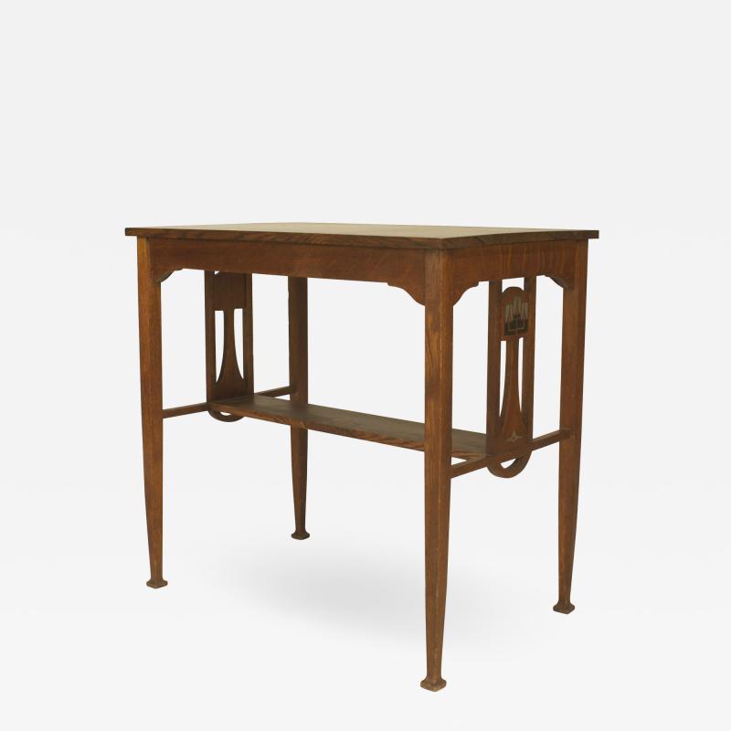 English Arts Crafts Oak Table Desk