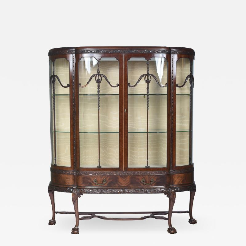 English Chippendale Style Mahogany Breakfront Display Cabinet C A 1900 s