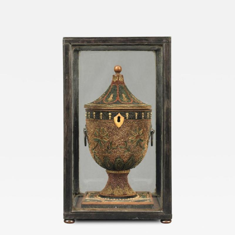 English Decorated Rolled Paper Tea Caddy in its Original Chinese Display Case