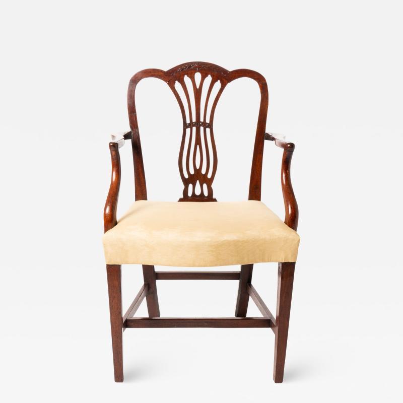 English Geo III carved mahogany arm chair