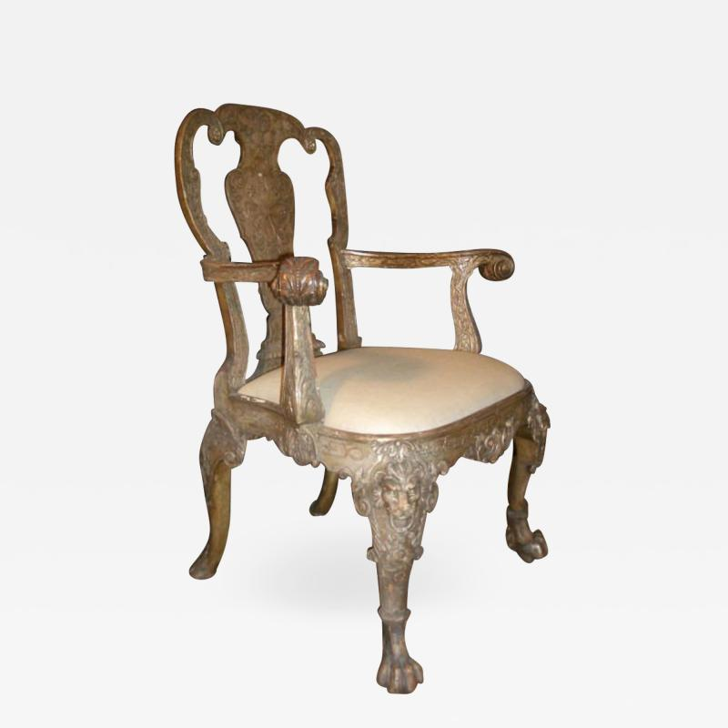 English George I style Silvered Armchair after a design by William Kent