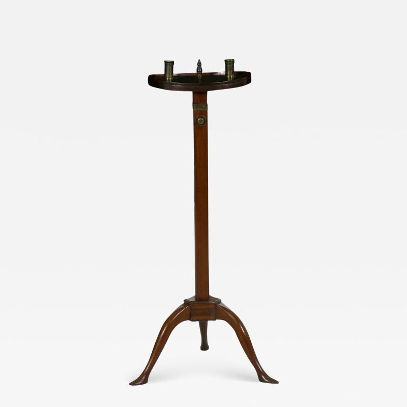 English George III Antique Mahogany Adjustable Candle Stand Accent Table c 1760