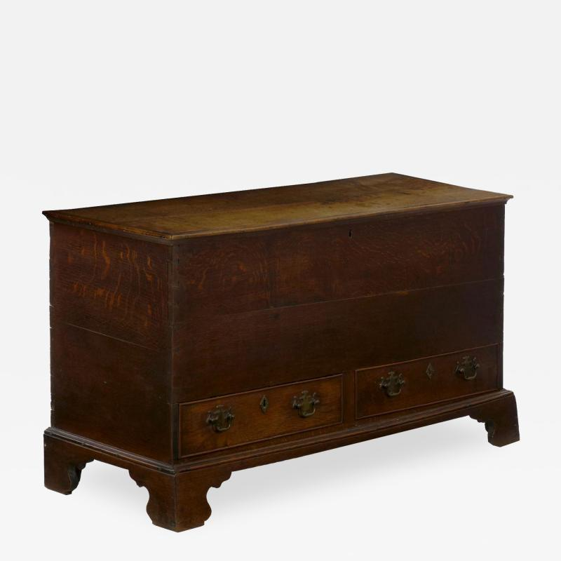 English George III Antique Oak Blanket Chest over Two Drawers
