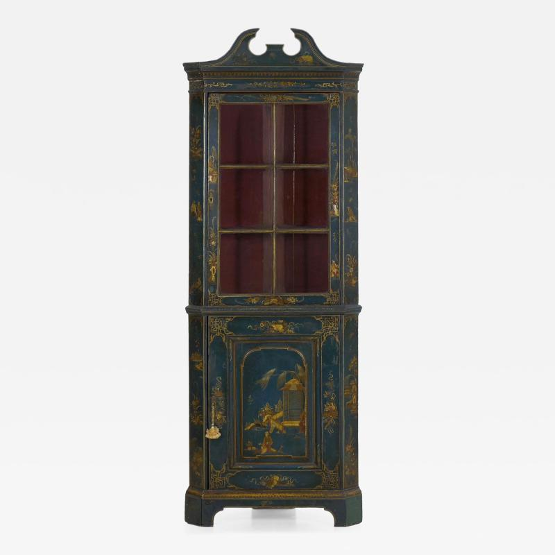 English George III Chippendale Blue Painted Chinoiserie Corner Cabinet