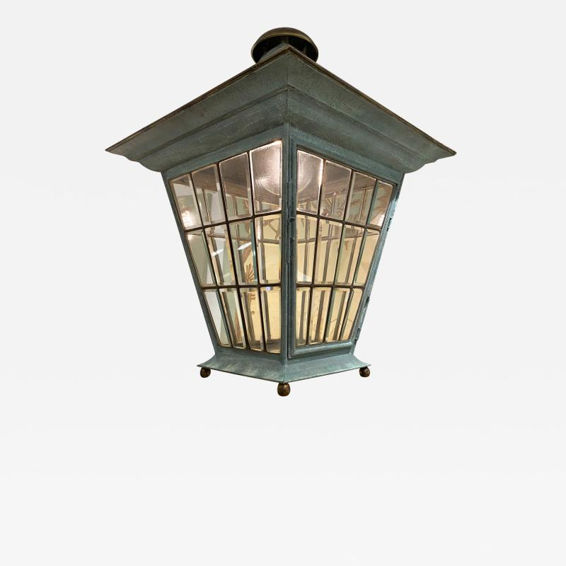 English Georgian Patinated Copper Lantern