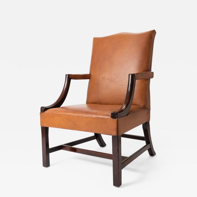 English Georgian mahogany upholstered lolling chair