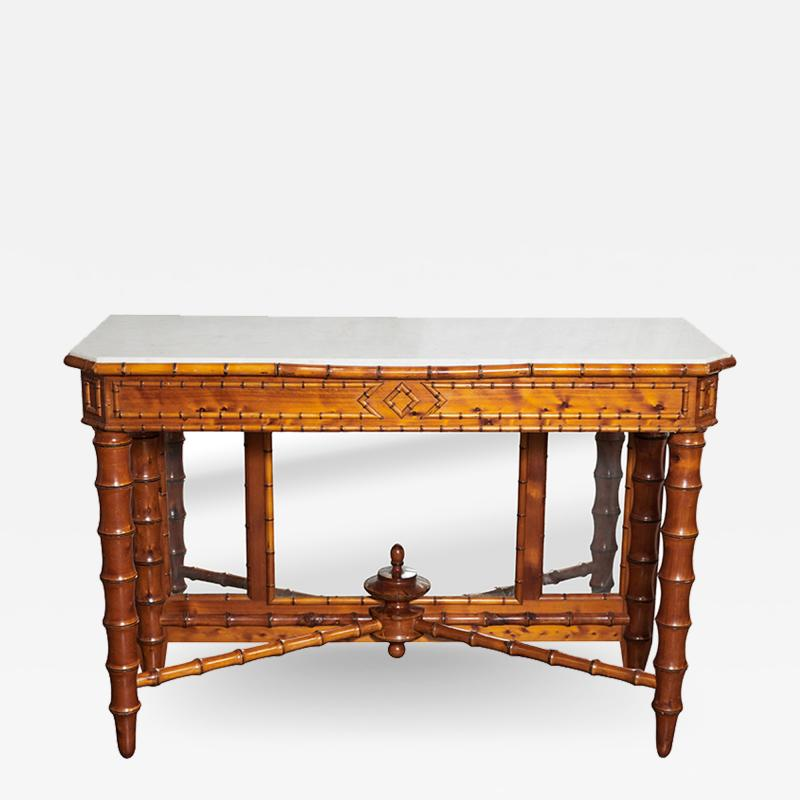 English Marble Top Faux Bamboo Mirror Backed Console