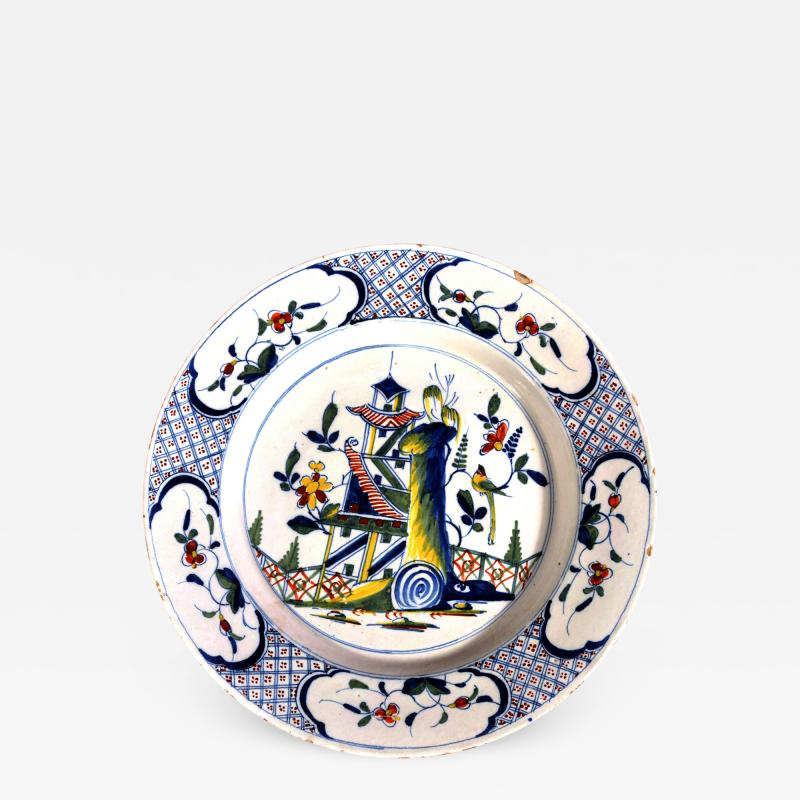 English Polychrome Chinoiserie Bristol Delftware Dish