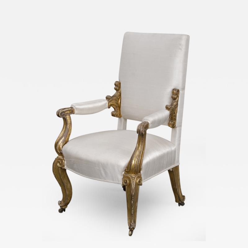 English Regency Giltwood Open Armchair Circa 1820