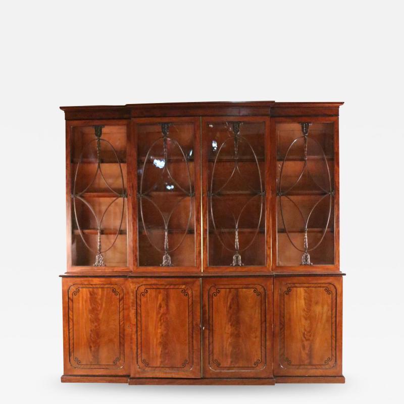 English Regency Mahogany Breakfront Cabinet