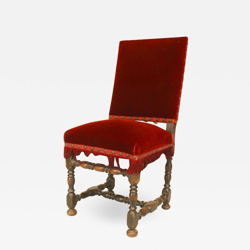 English Renaissance Red Velvet Side Chair