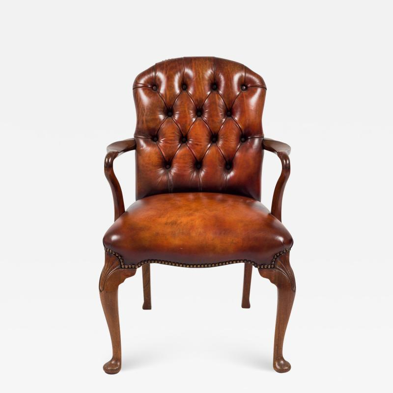 English Shepherds Crook Leather Armchair