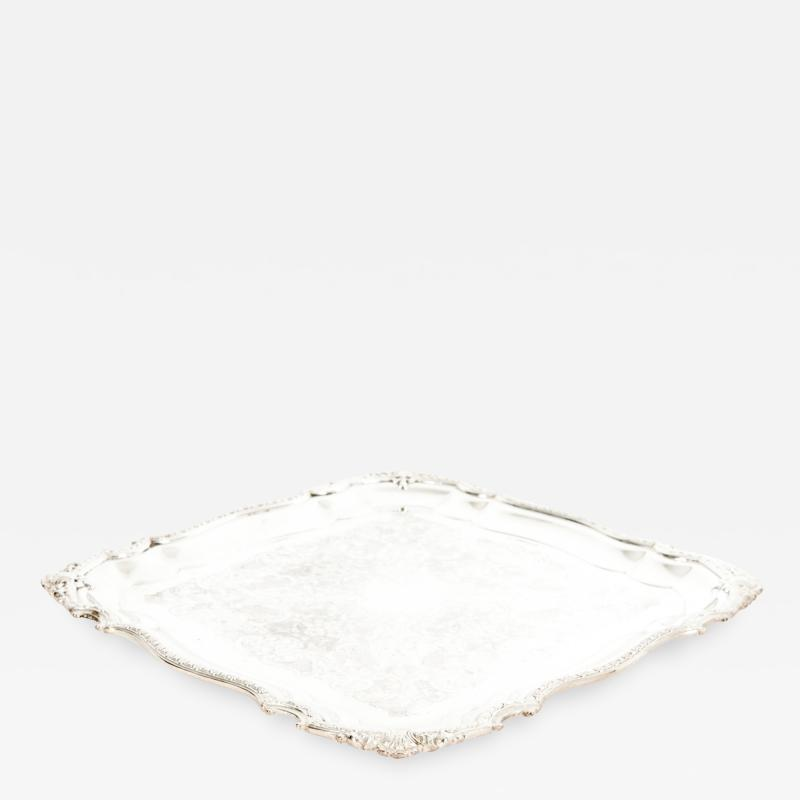 English Silver Plated Sheffield Barware Serving Tray