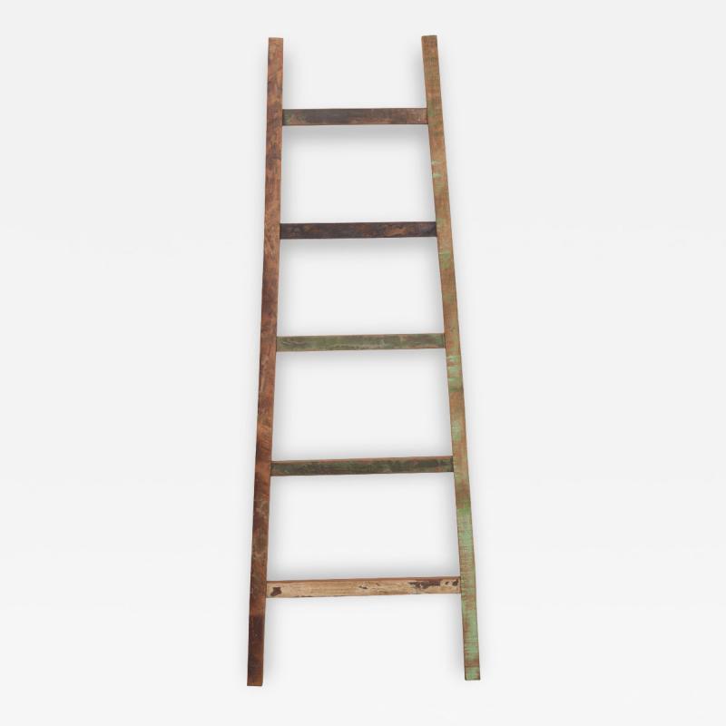 English Vintage Painted Farm Ladder