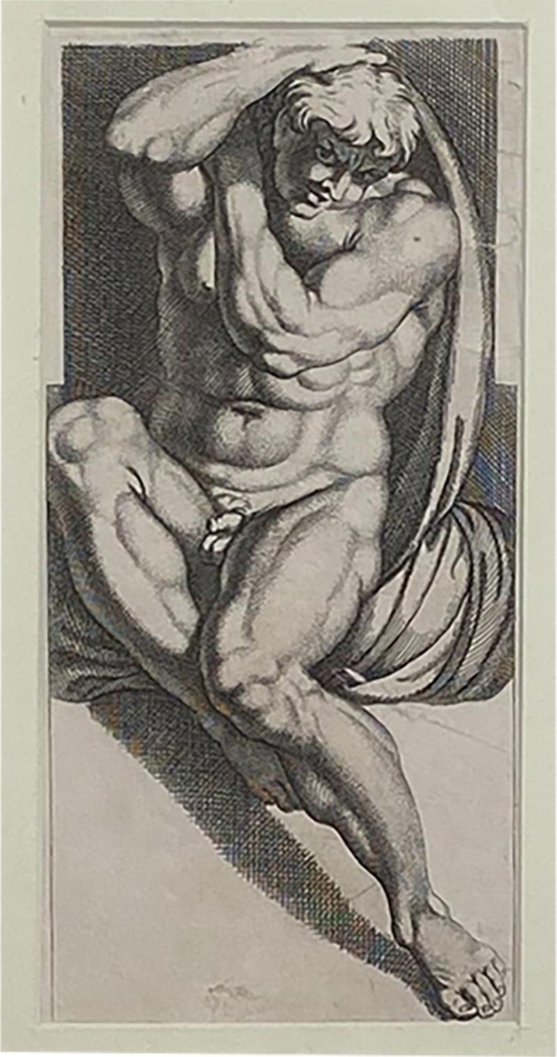 Engraving of An Atlas Figure Italy Circa 1600
