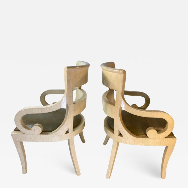 Enrique Garcel MODERN PAIR OF ENRIQUE GARCEL TESSALATED BONE ARMCHAIRS