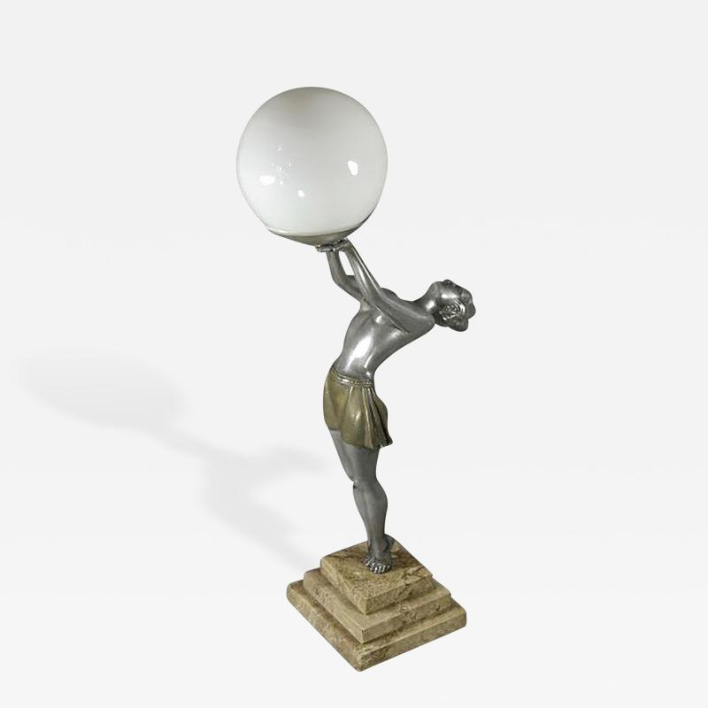 Enrique Molins Balleste French Art Deco Statue Lamp by Balleste