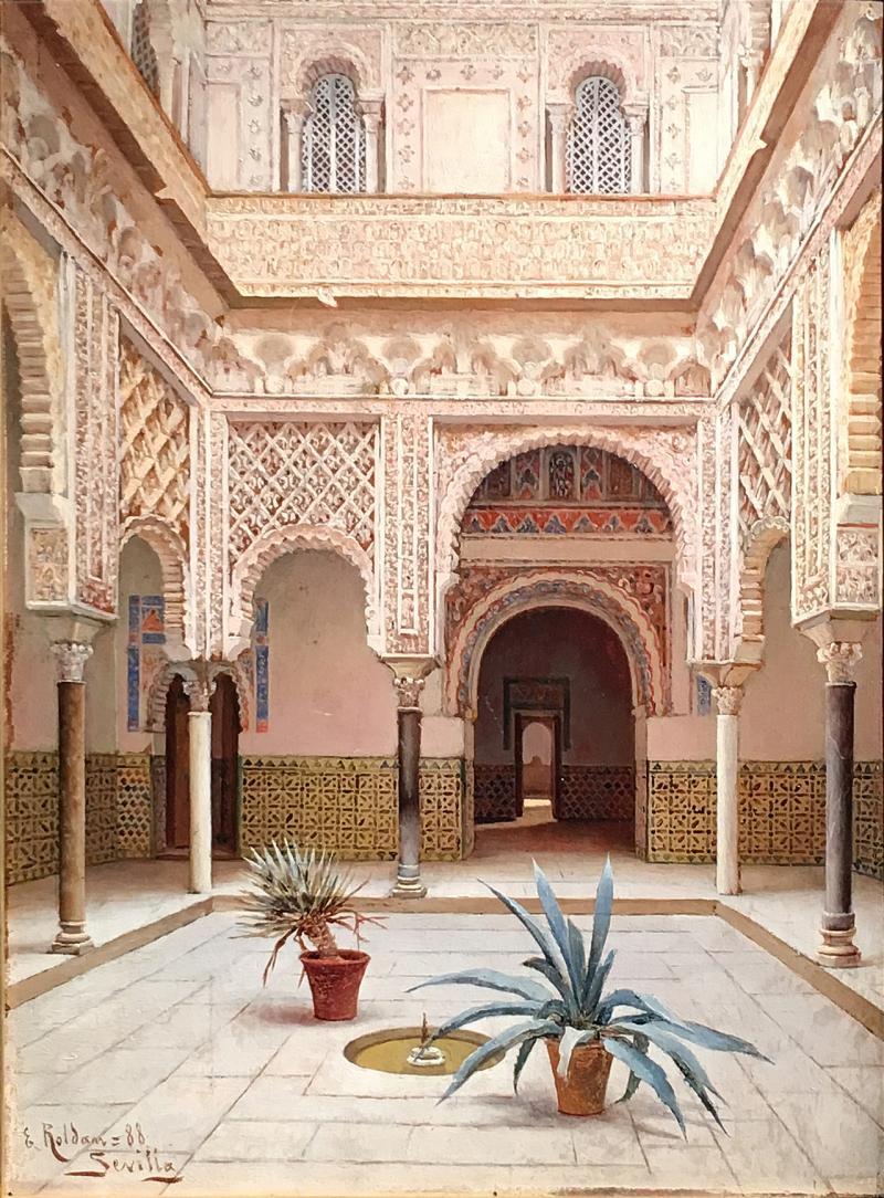 Enrique Roldan In the Courtyard the Alcazar of Seville