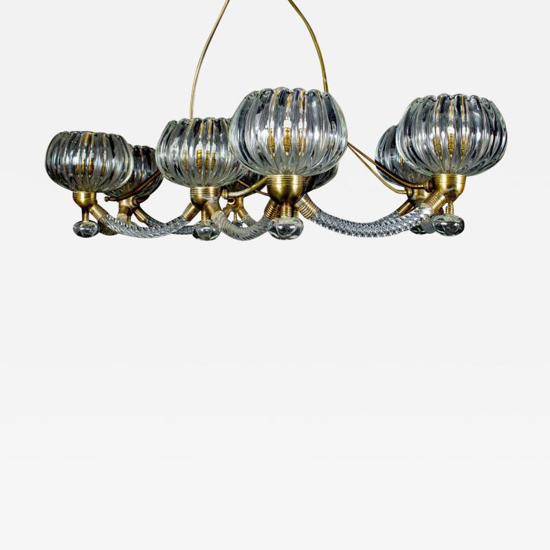 Ercole Barovier Art Deco Brass Mounted Murano Glass Chandelier by Ercole Barovier 1940