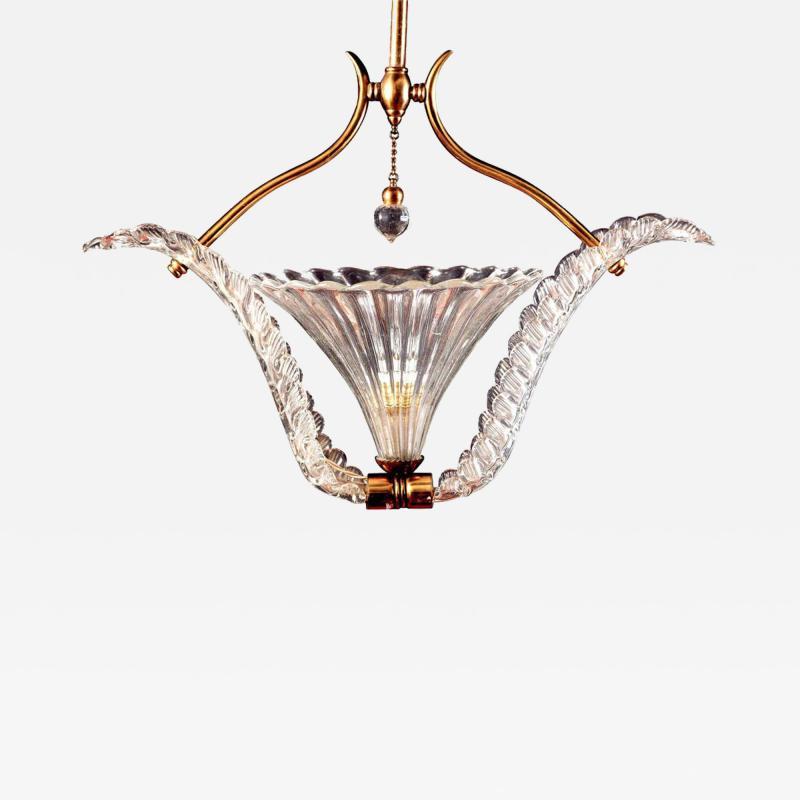Ercole Barovier Art Deco Murano Glass Pendant by Ercole Barovier 1940