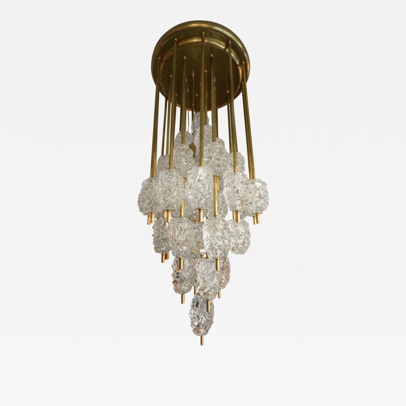 Ercole Barovier Barovier Diamant Brass and Textured Murano Glass Chandelier