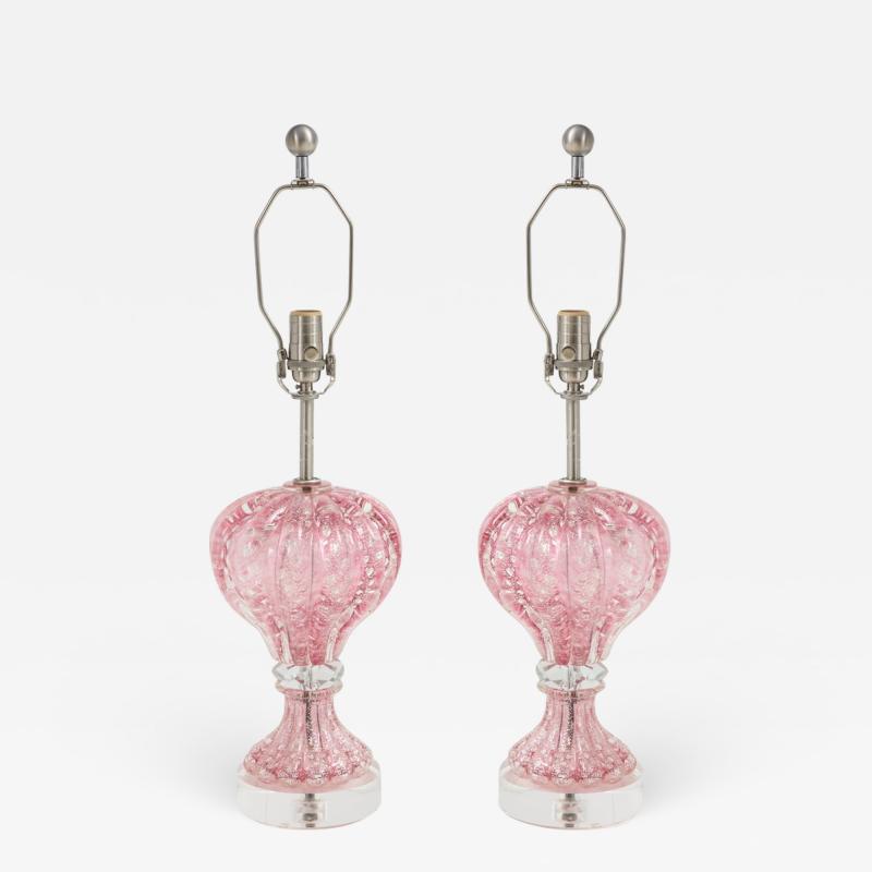 Ercole Barovier Barovier Pink Diamond Murano Glass Lamps