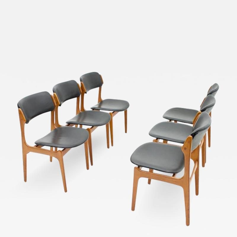 Erik Buch Set Of Six Erik Buch Dining Chairs in Teak and Black Leather Denmark 1960s