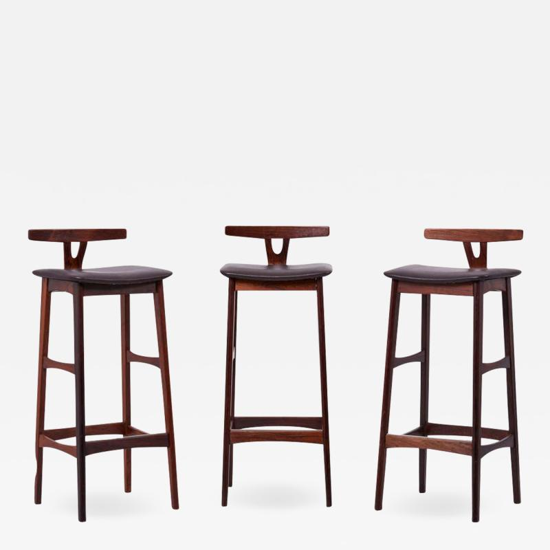 Erik Buch Set of 3 Wood and Leather Barstools by Erik Buch for Dyrlund