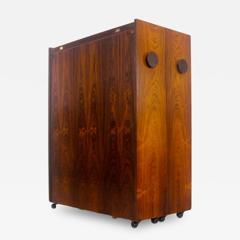 Erik Buck Unique Scandinavian Modern Rosewood Bar Cabinet on Wheels by Erik Buck