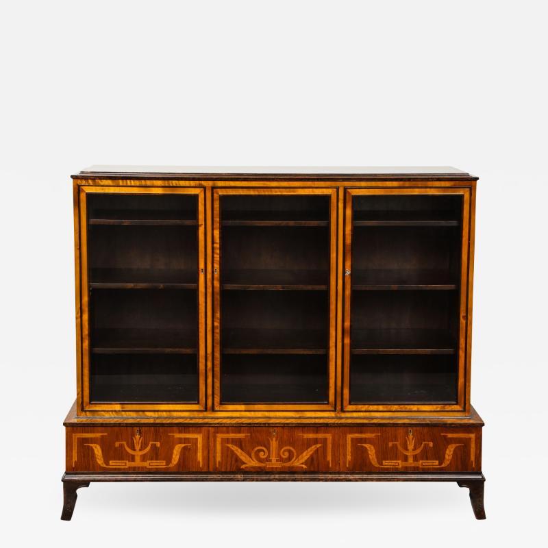 Erik Chambert Erik Chambert Birch Ebonized and Fruitwood Inlaid Bookcase Cabinet circa 1940