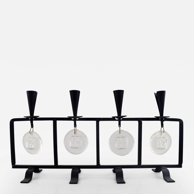 Erik H glund Candleholder in cast iron with mouth blown glasses