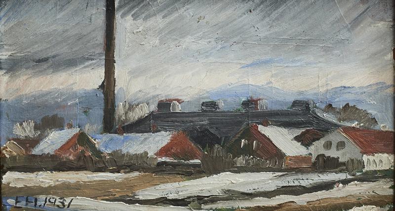 Erik Hoppe ERIK HOPPE PAINTING OF A WINTER LANDSCAPE WITH HOUSES
