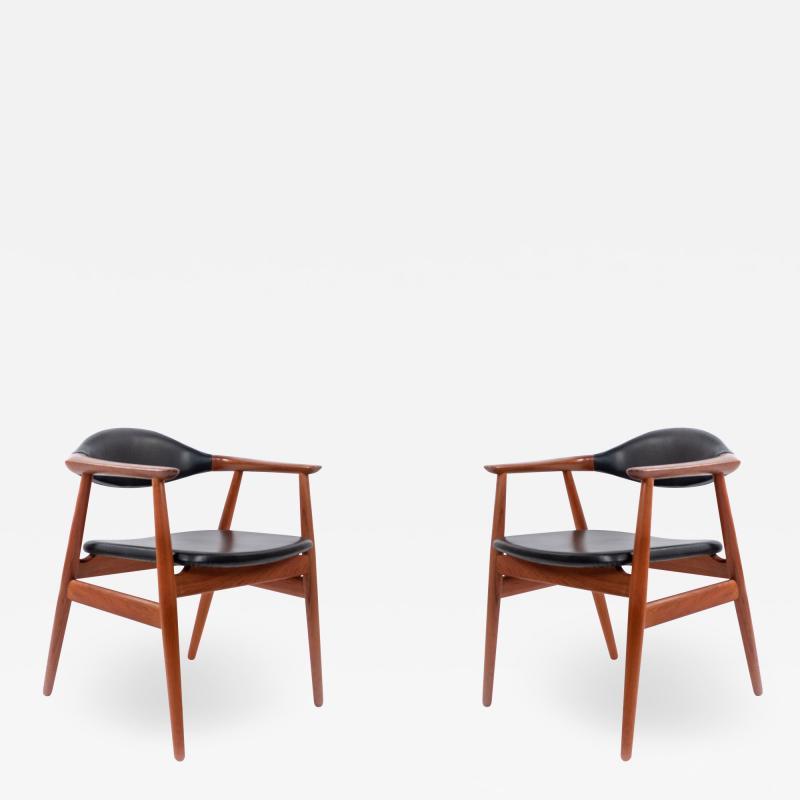 Erik Kirkegaard Set of 4 4 Black Vinyl and Teak Erik Kirkegaard Midcentury Side Chairs