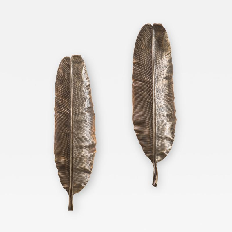Erin Sullivan Flora Series Bronze Banana Leaf Sconces USA