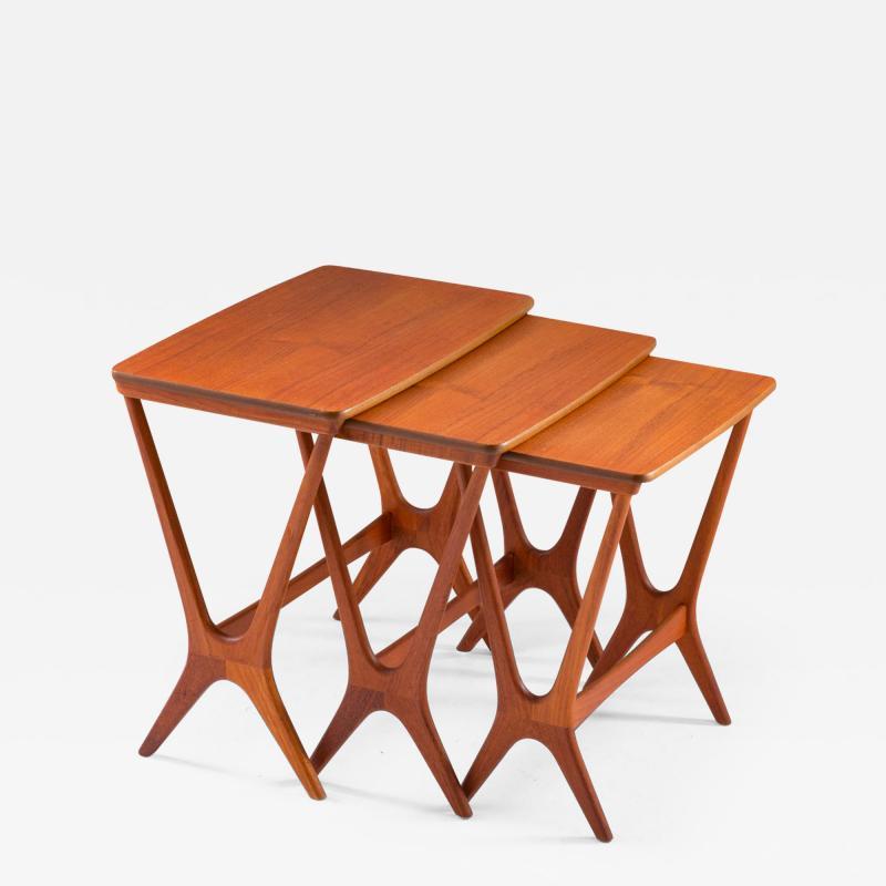 Erling Torvits Scandinavian Midcentury Nesting Tables by Erling Torvits for HM