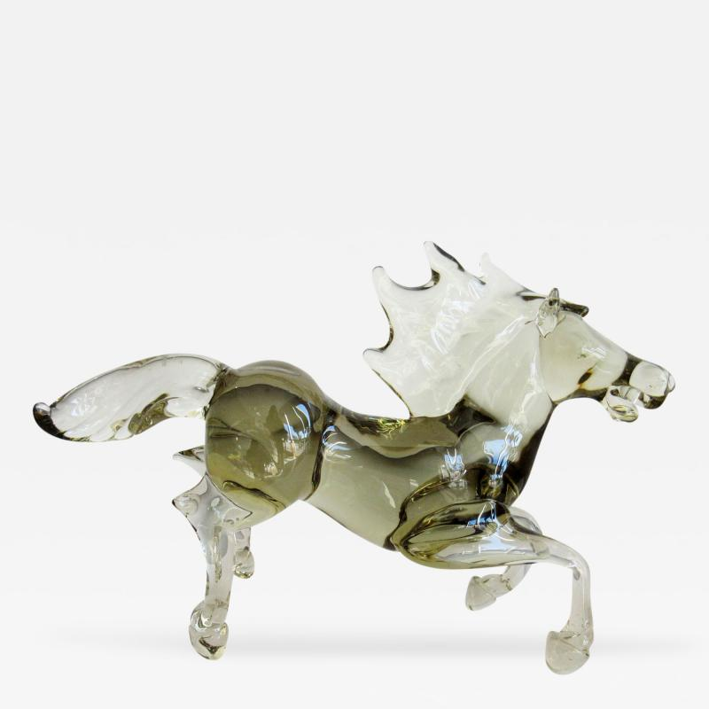 Ermanno Nason Pale and Clear Murano Glass Horse Signed by Ermanno Nason