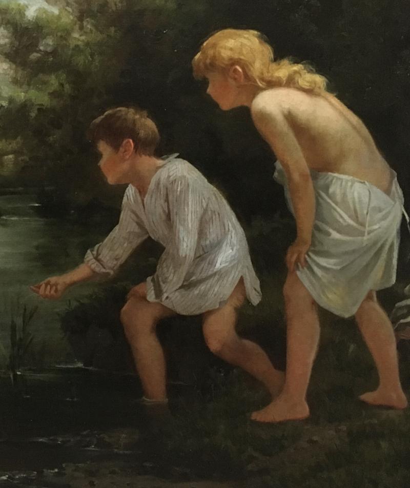 Ernest Etienne de Francheville Narjot Two Children Feeding Ducks in a Pond