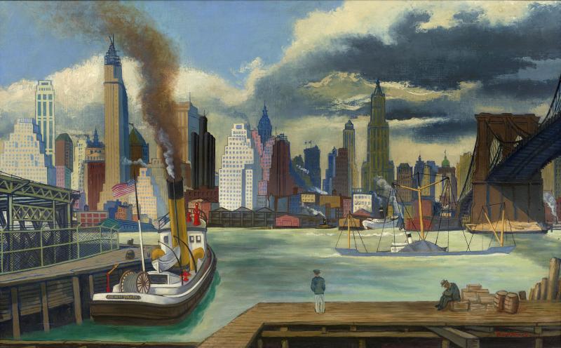 Ernest Fiene Waterfront Lower Manhattan
