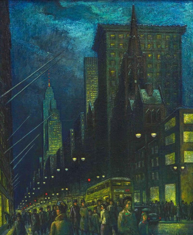 Ernest Fiene Winter Evening Fifth Avenue Night Scene