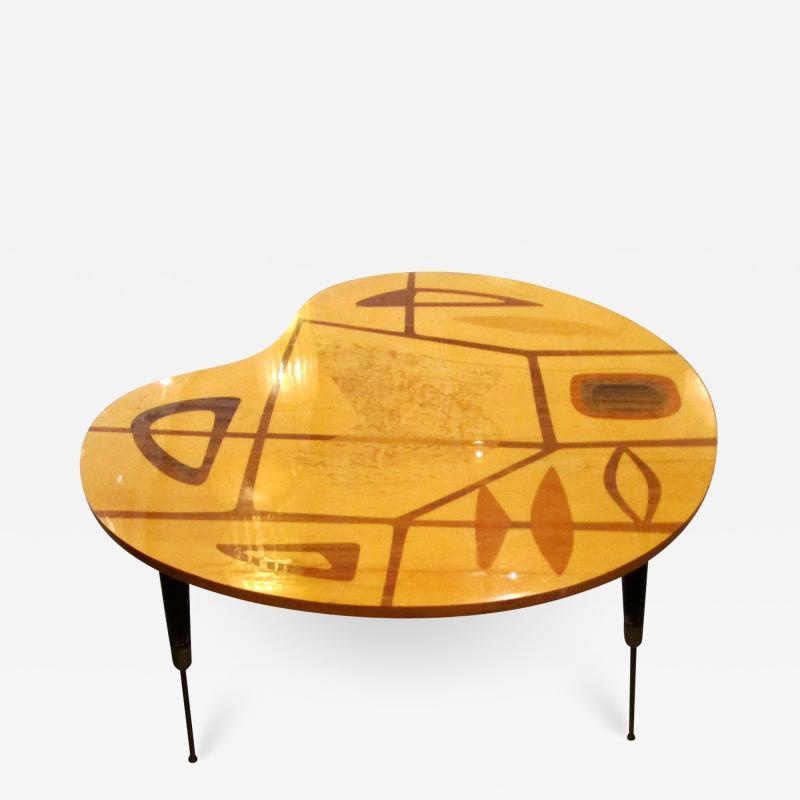 Erno Fabry Italian Modern Walnut Lemonwood Sycamore and Brass Low Side Table