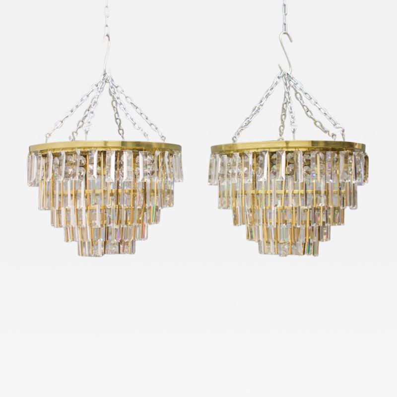 Ernst Palme Pair Of Crystal Glass Flush Mount Chandelier by Palwa Germany 1970s