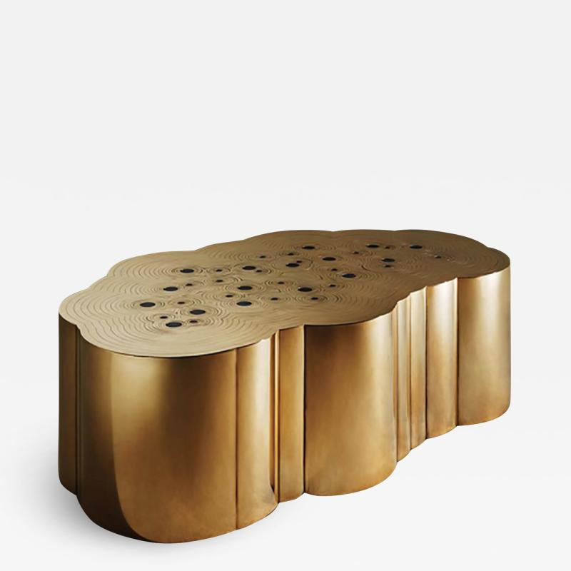 Erwan Boulloud Erwan Boulloud Cloud Shaped Rosanna Coffee Table in Brass and Onyx